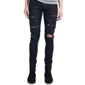 Amiri Men's Black Crystal Destroy Jeans Size 30